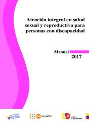 """Portada del manual, cuyo título es """"Atencion integral en salúd sexual y reproductiva para personas con discapacidad"""""""