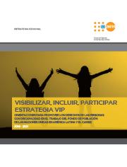 Portada del manual de estrategia VIP, cuyo título es Visibilizar, incluir y participar. Contiene una imagen de dos mujeres que están mirando un atardecer con los brazos hacia arriba, una de ellas en silla de ruedas.