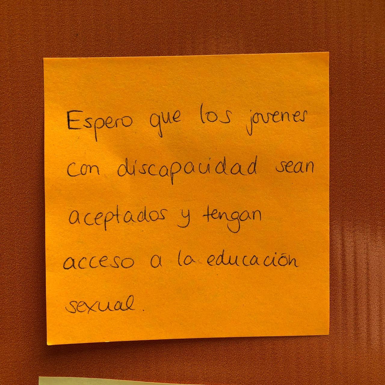 Espero que los jóvenes con discapacidad sean aceptados y tengan acceso a la educación sexual.