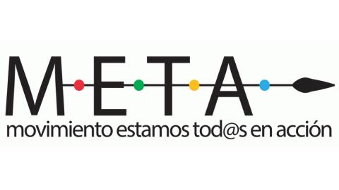 """Logo de META. Representado por la palabra META en letras negras y mayúsculas, lo atraviesa una flecha y por debajo aparece """"Movimiento estamos tod@s en acción"""""""