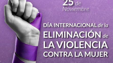 Un puño sosteniendo un listón morado y texto en blanco que dice día internacional de la eliminación de la violencia contra la mujer.