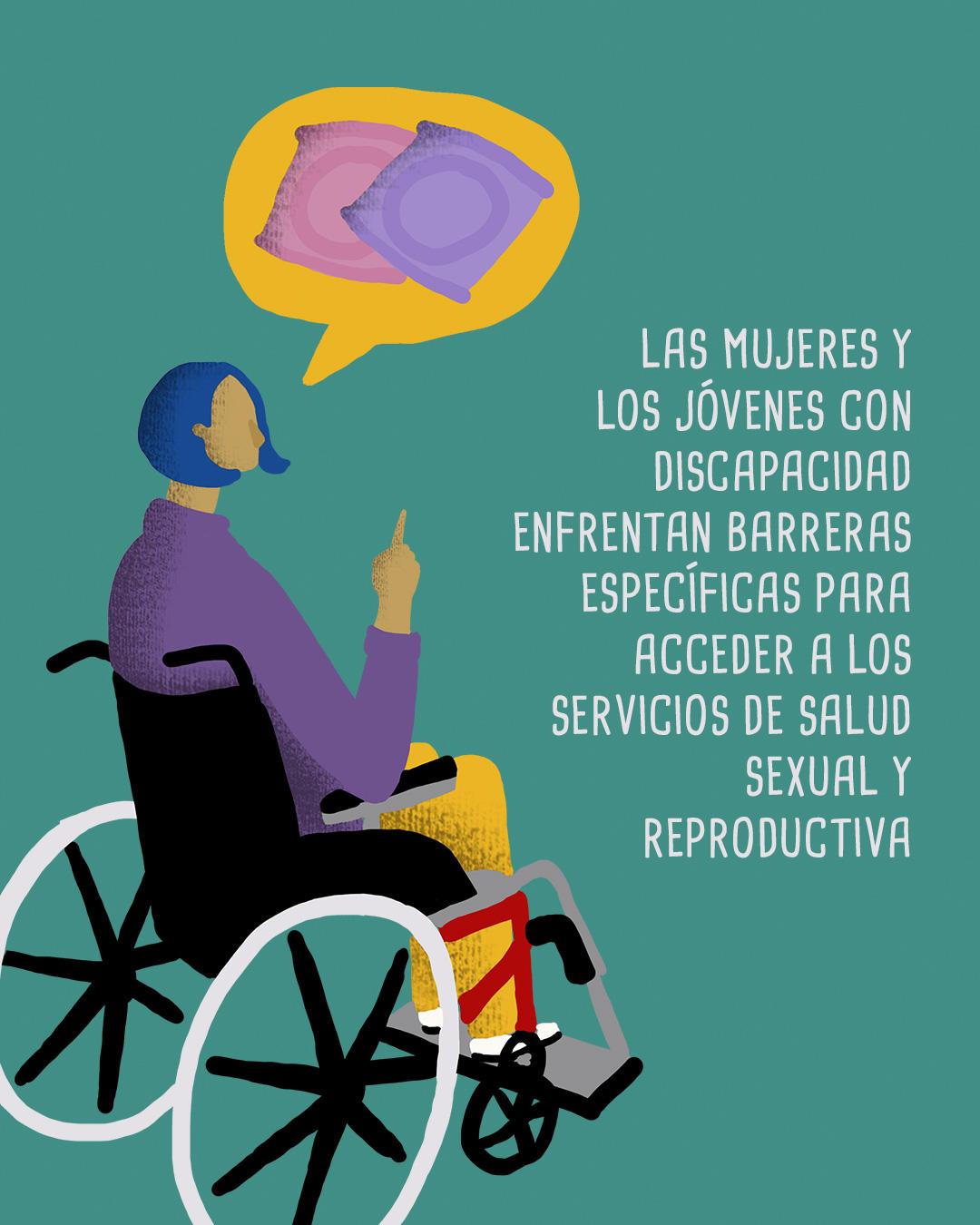 Ilustración de una persona con discapacidad motora, hablando sobre condones. Un texto que dice, las mujeres y jóvenes con discapacidad enfrentan barreras específicas para acceder a os servicios de salud sexual y reproductiva.