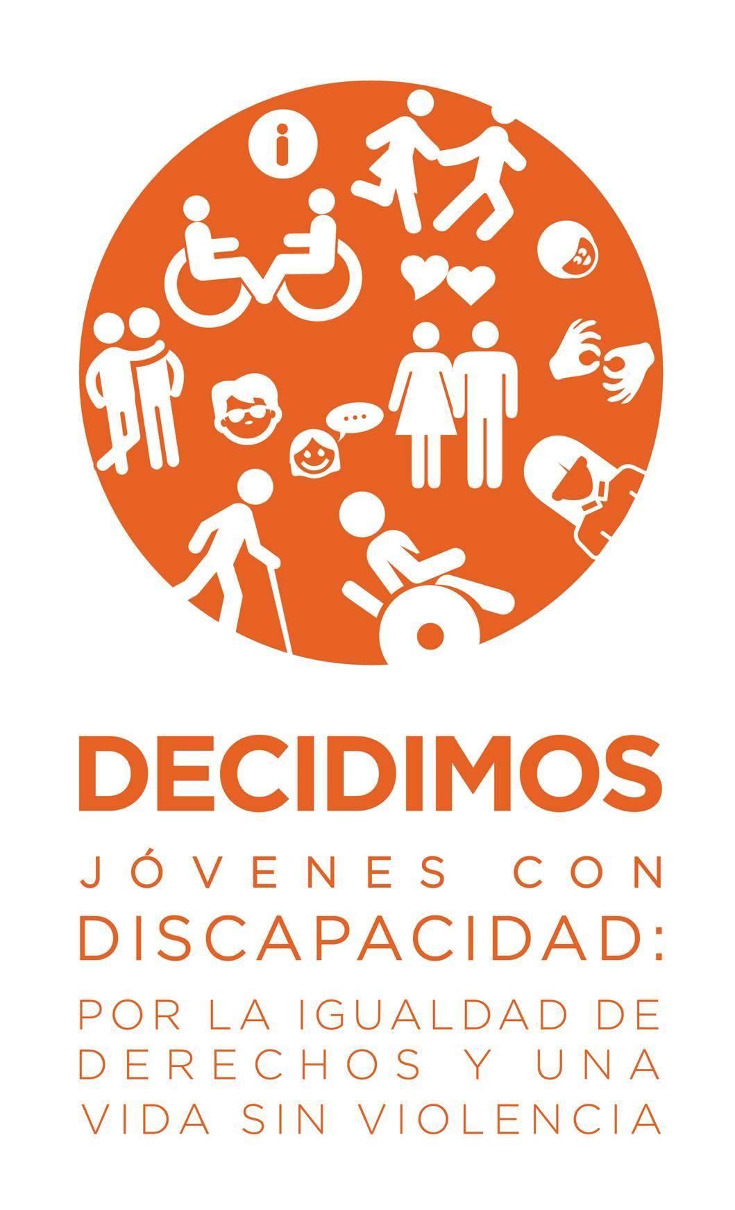 Logo Decidimos, Imagen del logo con texto en color naranja que díce, Decidimos, jóvenes con discapacidad: por la igualdad de derechos y una vida sin violencia.