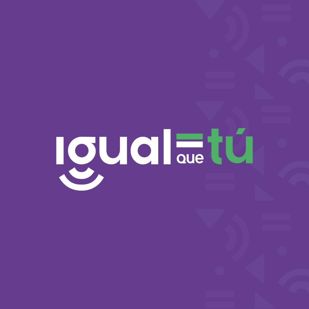 En la imagen se observa el logo de Igual que tú, sobre fondo violeta.