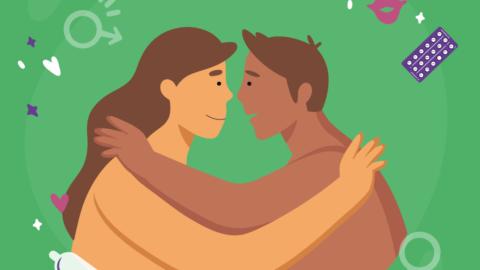 """En la imagen se observa la ilustración de una pareja abrazada, de perfil, y con el torso desnudo. Sobre ellos, el texto: """"4 de septiembre Día internacional para la salud sexual"""", y alrededor la ilustración de un preservativo, pastillas anticonceptivas, la bandera del orgullo LGBT, el símbolo de femenino y masculino, un beso y corazones."""