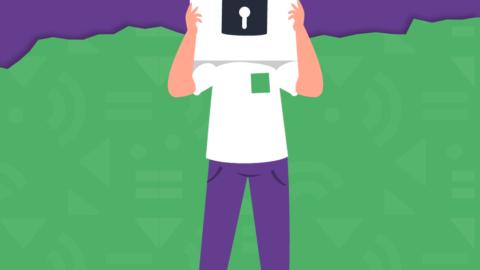 En la imagen se observa la ilustración de un joven con el rostro tapado por un cartel que sostiene con ambas manos, en el cual se encuentra dibujado un candado cerrado.