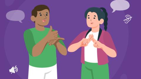 """""""En la imagen se observa la ilustración de un chico y una chica hablando en lengua de señas. Sobre ellos, el texto: 23 de Septiembre, Día Internacional de la Lengua de Señas. """""""