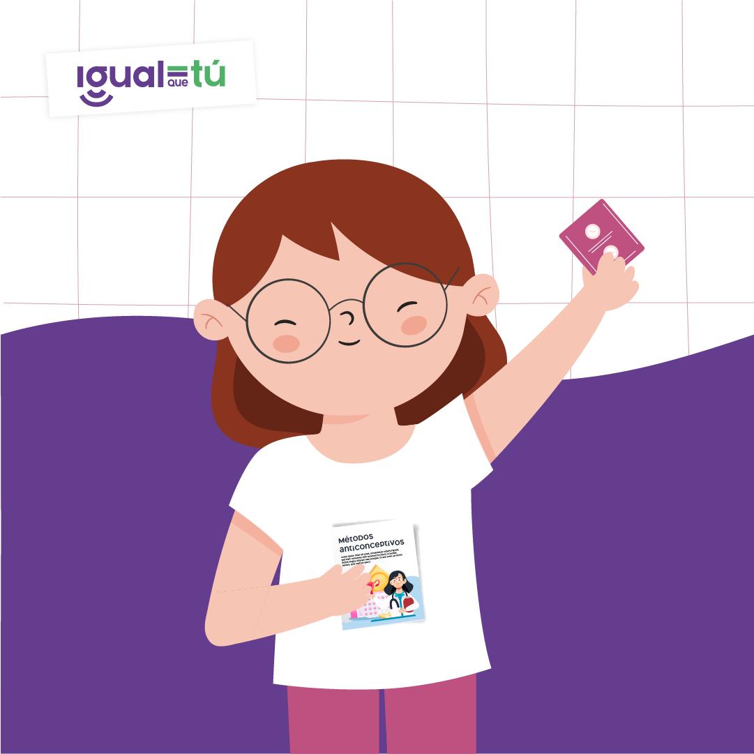 """Se observa la ilustración de una niña sonriente con lentes que sostiene en una mano un folleto que se titula """"Métodos anticonceptivos"""", y en la otra, un preservativo."""